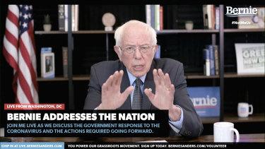 Democratic presidential candidate Bernie Sanders speaks in a video on his website.