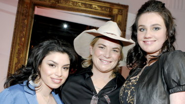 Kate Cook, middle, with Sabrina Batshon and Ashleigh Toole at the Australian Idol final 12 party in 2009.
