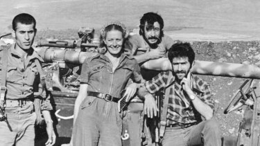 Vanessa Redgrave poses with members of the Palestine Liberation Organisation, in Fatahland, while acting in The Palestinian.