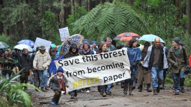 A 2011 protest against Reflex paper at Toolangi state forest.