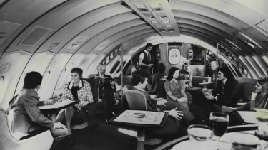 Living it up in the  lounge of a Qantas plane in 1971.