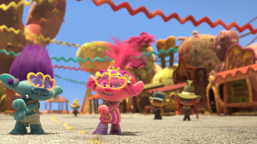 The colours in Trolls World Tour are eye-meltingly garish.