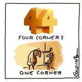 Matt Golding cartoon Four corners one corner For letters