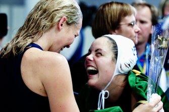 Gail Miller and Yvette Higgins celebrate Higgins' winning goal.