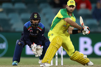 Glenn Maxwell in action during the third one-day international against India in Canberra in December.