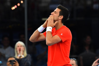 Novak Djokovic blows a kiss to fans in Adelaide on Friday night.