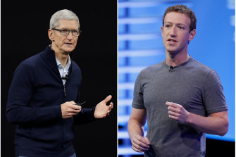 At odds: Tim Cook, 60, is a polished executive who rose through Apple's ranks by constructing efficient supply chains. Mark Zuckerberg, 36, is a Harvard dropout who built a social-media empire with an anything-goes stance toward free speech.