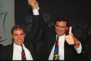Rod McGeoch, right, with then premier John Fahey, celebrate Sydney's successful bid for the 2000 Olympics in 1993.