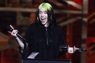 Billie Eilish accepts her award for international female solo artist at the Brit Awards 2020.