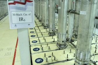 Centrifuge machines in the Natanz uranium enrichment facility.