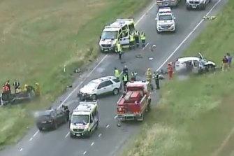 Three-vehicle crash atBalliang, west of Werribee.