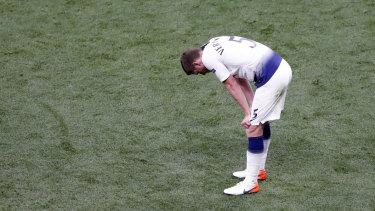 Spurs defender Jan Vertonghen reacts at full-time.