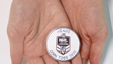 Special standard: The NRL grand final coin.