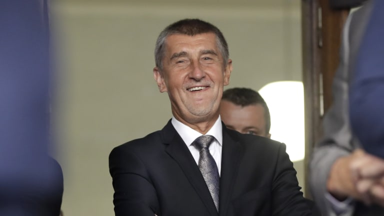 Czech Republic's Prime Minister Andrej Babis smiles as he waits to deliver a speech to honour the victims of the Soviet-led invasion of Czechoslovakia.
