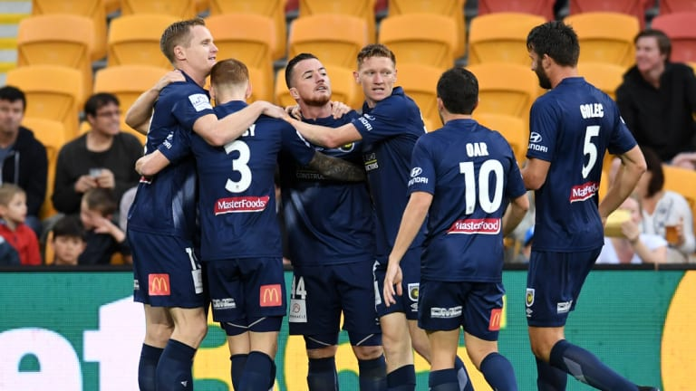 Quick start: Central Coast celebrate their opening goal of the season after just four minutes.