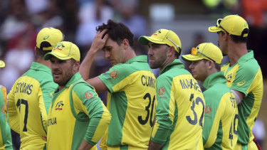 Tough day at the office: the Australians during their World Cup semi-final loss.