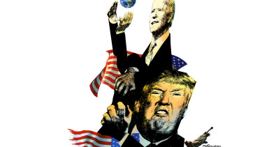 A collage of Joe Biden in front of a US flag gazing hopefully at a small planet earth in his hands while being tackled by a hateful Donald Trump wearing a tie made from a torn US flag and squashing a small statue of liberty.