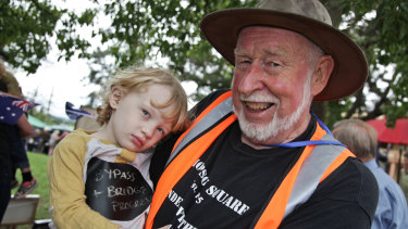 Harry Terry with his grandson, also Harry, at a protest concert at Thompson Square in 2014.