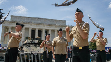 Soldiers practice ahead of planned Fourth of July festivities with President Donald Trump.
