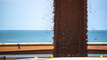 Bauxite being loaded for export from Rio's Weipa mine in far north Queensland.