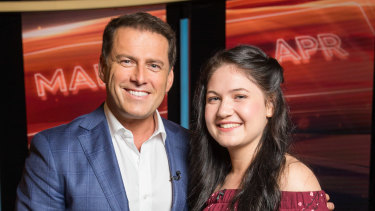 Karl Stefanovic with Eden Fraser on the set of This Time Next Year.