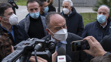 Anti-mafia Prosecutor Nicola Gratteri speaks to the media outside the bunker in Calabria where the mass-trial has begun.
