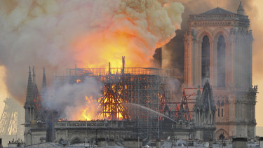 Fire engulfs the Notre-Dame Cathedral in Paris.