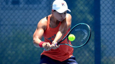 Barty warms up for the Brisbane International.