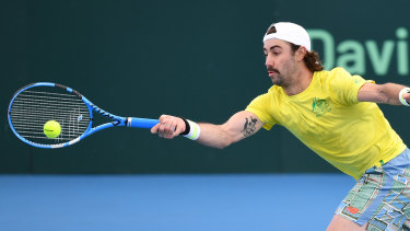 Australia's Jordan Thompson during a practice session ahead of the Davis Cup Qualifier.