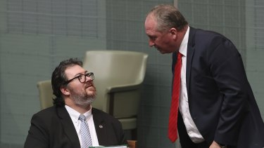 Nationals MPs George Christensen and Deputy Prime Minister Barnaby Joyce.