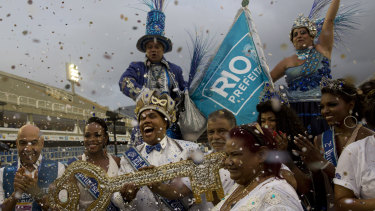 Carnival King Momo Wilson Neto holds the key to the city at a ceremony marking the official start of Carnival at the Sambadrome in Rio de Janeiro.