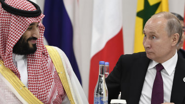 Saudi Crown Prince Mohammed bin Salman and Russian President Vladimir Putin. Saudi Arabia and Russia failed to renew an agreement to limit production and oil prices plunged.