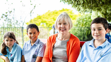 Miriam Meaney, principal of St Canice's Primary School in Katoomba,   with some students.
