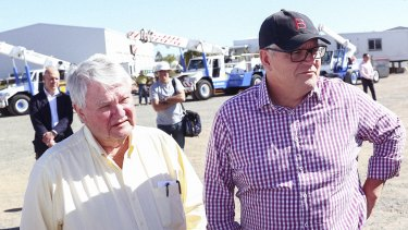 Retiring LNP MP Ken O'Dowd with Prime Minister Scott Morrison in Queensland in May.