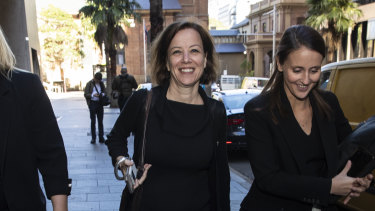 Jo Dyer (left) leaves the Federal Court last month.