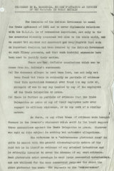 The first page of the statement by the Chargé d'Affaires of the USSR in Britain regarding the Arcos raid.