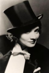 Marlene Dietrich as she appeared in Morocco, the film in which she famously kissed a woman on the lips