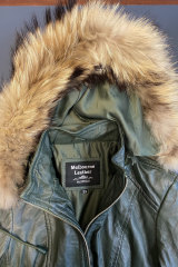 This jacket sold at the Queen Victoria Market was labelled as 100 per cent leather and polyester but its fur trimmed hood was found to contain raccoon dog fur.