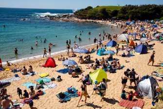 Little Bay Beach was filled with people, leading locals to say they only see it this busy on Christmas and new year.