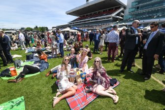 Crowds at the 2019 Melbourne Cup at Flemington Racecourse.