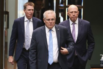 Christian Porter with Scott Morrison and Peter Dutton in early June.