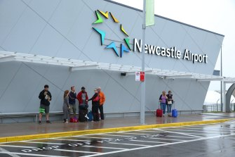 Flights in and out of Newcastle Airport have been suspended due to flooding on the runway.