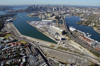 The government is forging ahead with plans to redevelop White Bay (left) Glebe Island (centre) and Blackwattle Bay (right).