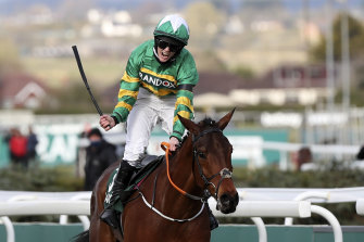 Rachael Blackmore wins the Grand National on  Minella Times.