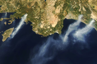 Visible from space: wildfires burn near the southern coast of Turkey.