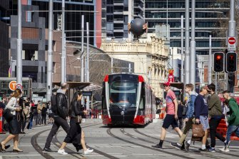 The new light rail on George Street in Sydney's CBD.