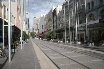 A deserted Bourke Street Mall on Wednesday.