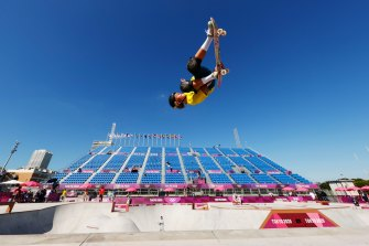 Keegan Palmer of Australia warms up for the men's skateboarding park competition. The 18-year-old took gold for Australia in the sport's Olympic debut.