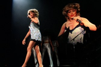 Tina Turner in concert at Melbourne Park on her Wildest Dreams tour in 1997.