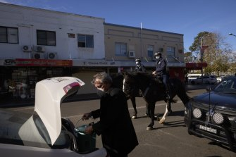 Mounted police patrol in Fairfield on July 17.